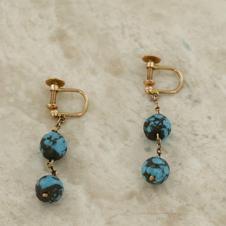 Vintage Turquoise Ball Drop Dangle Screw Back Earrings