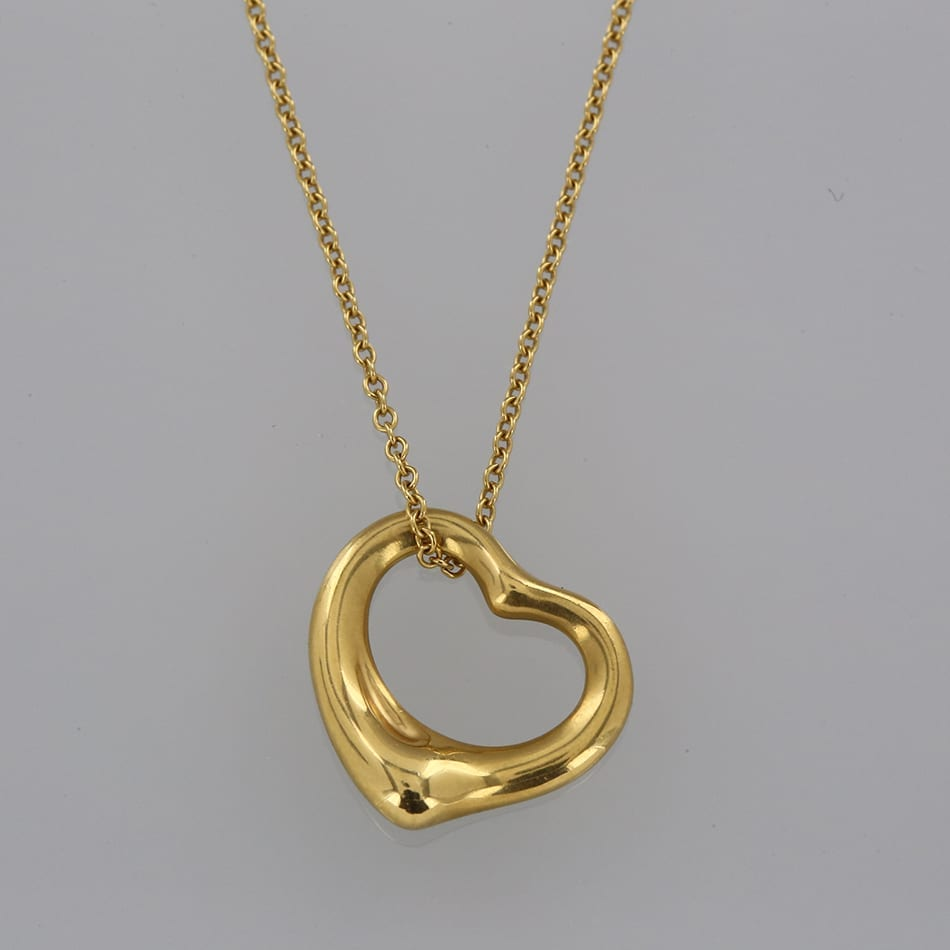 Tiffany co elsa peretti open heart pendant necklace the home designer jewellery metal yellow gold tiffany co elsa peretti open heart pendant necklace aloadofball Images