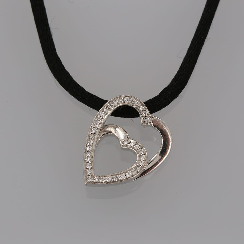 Cartier double heart diamond pendant necklace the vintage jeweller cartier double heart diamond pendant necklace aloadofball Images