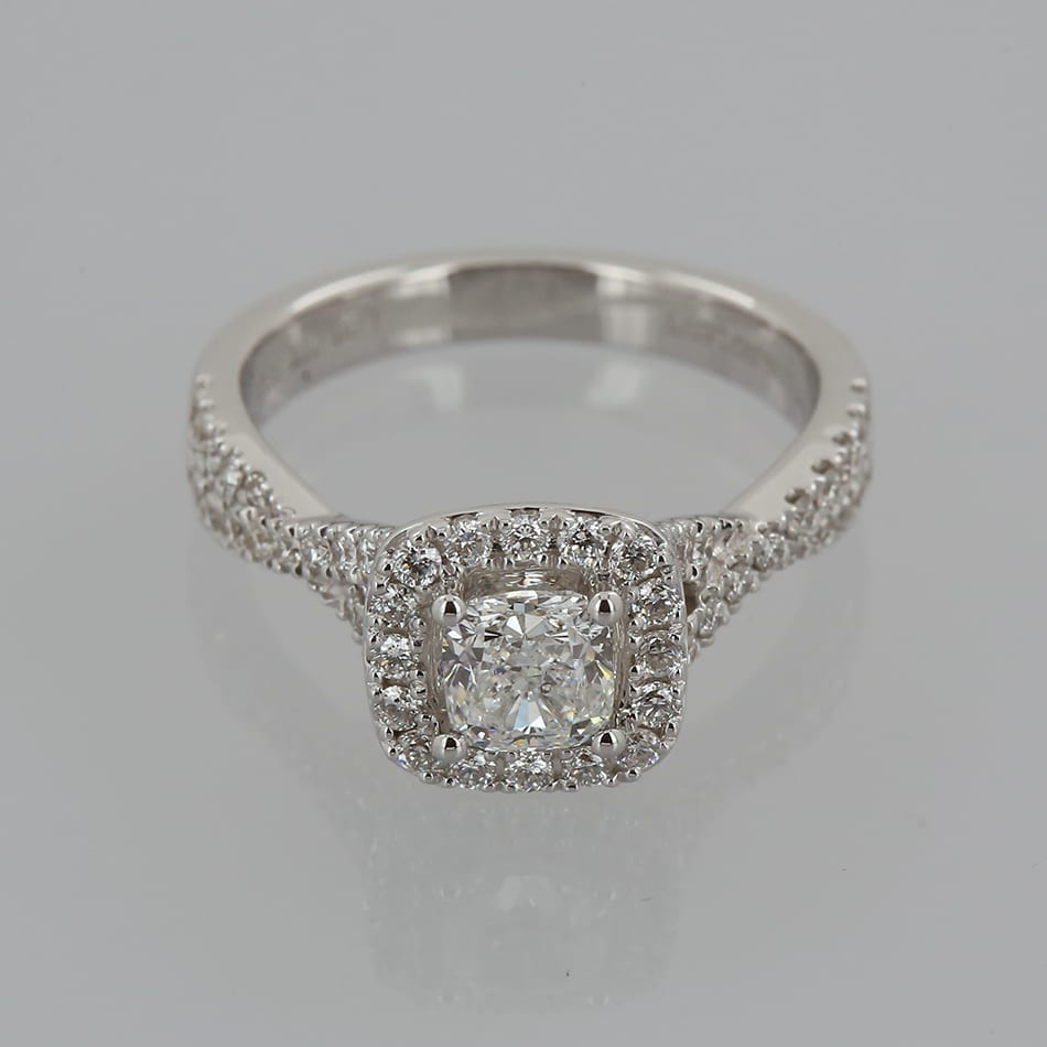 17bb0baf3487 Home   Rings   Stone   Diamond   Vera Wang 0.66 Carat Diamond Halo Engagement  Ring