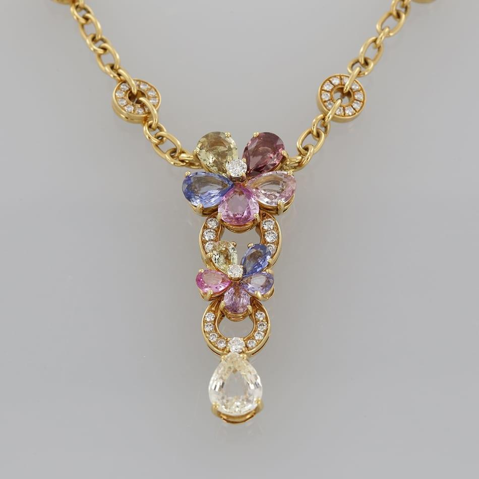 Bvlgari sapphire and diamond flower necklace pendant the vintage bvlgari sapphire and diamond flower necklace pendant aloadofball Image collections