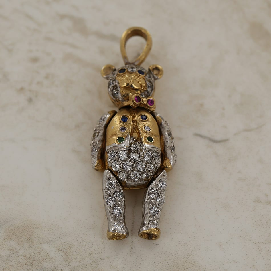 c944972e843fc6 Home / Vintage Jewellery / Stone / Zircon / Multi Gem Set Articulated Teddy  Bear Pendant