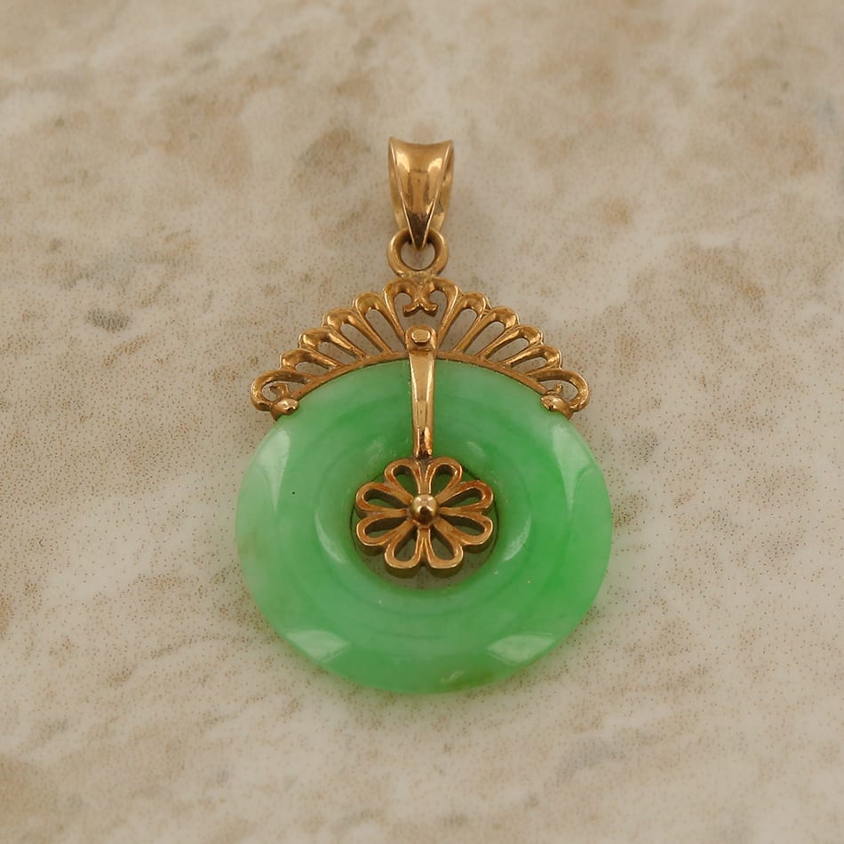 Jade circle pendant the vintage jeweller home vintage jewellery stone jade jade circle pendant mozeypictures Choice Image