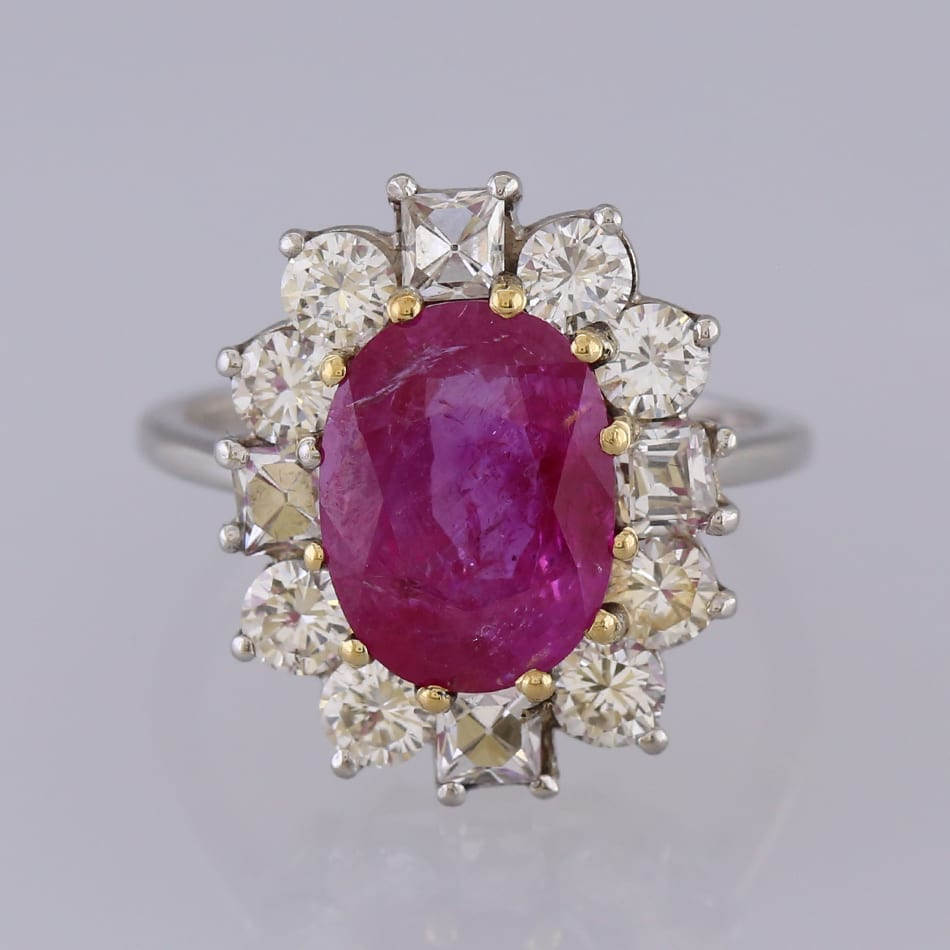 Custom Burma Ruby Ring: Burmese Ruby And Diamond Cluster Ring
