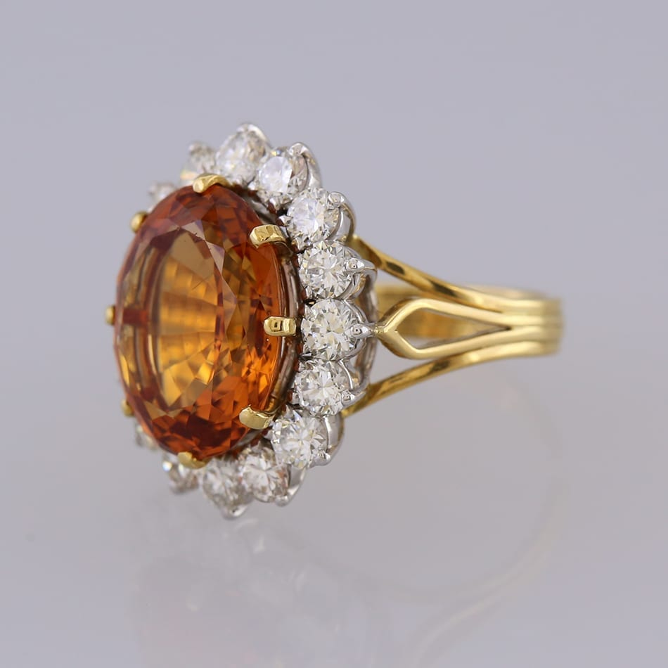 Golden Topaz And Diamond Cluster Ring The Vintage Jeweller