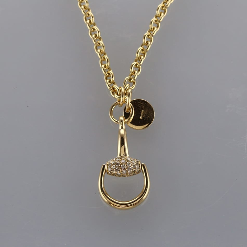 a9834b2b0 Gucci Diamond Horsebit Pendant Necklace - The Vintage Jeweller