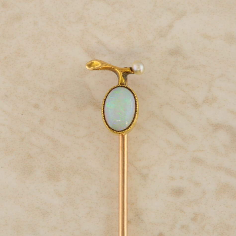 ba743b8cb Antique Opal and Pearl Stick Pin - The Vintage Jeweller