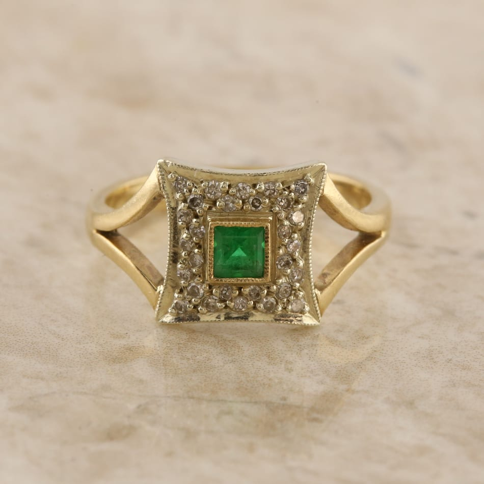 1b0348c4767d8 Emerald and Diamond Cluster Ring