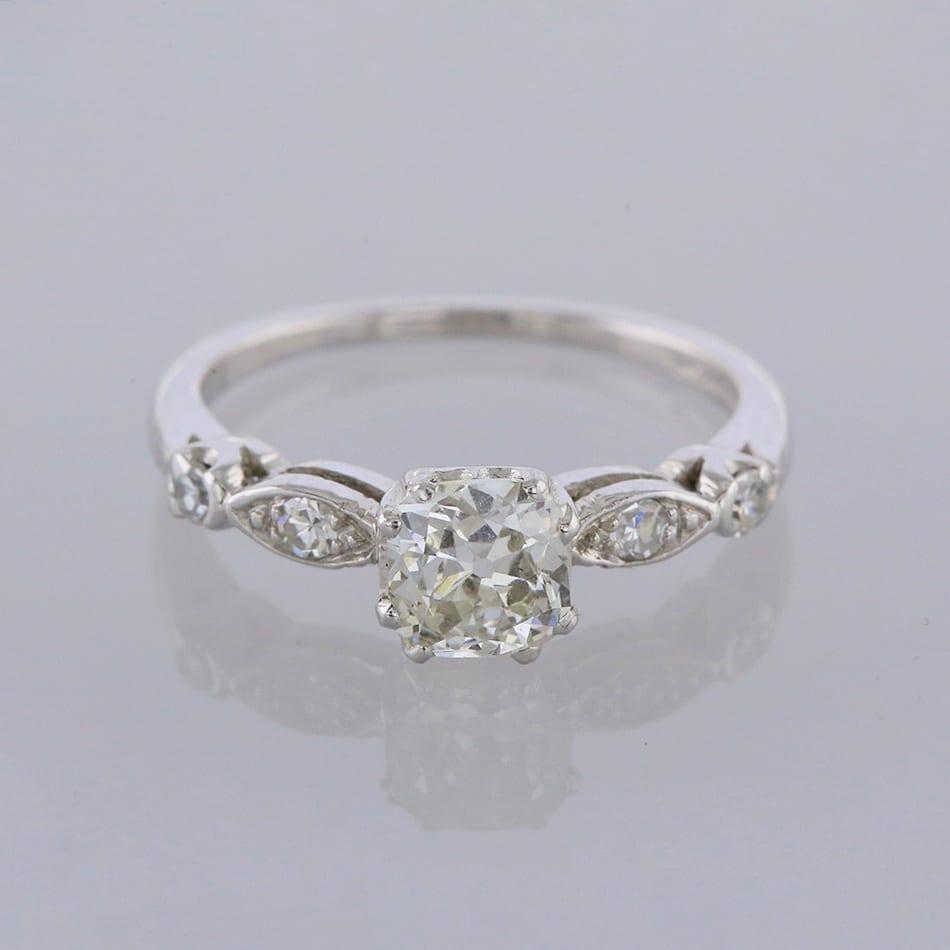 Vintage 0 91 Carat Asscher Cut Diamond Engagement Ring The Vintage Jeweller